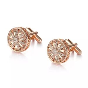 ZARD Starburst Cufflinks with Crystal Accent in Rose Gold Tone
