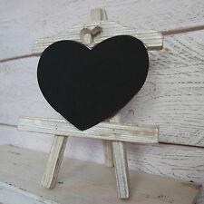 White Washed Wooden Heart Chalk Memo Board Blackboard Easel/Stand Wedding Home