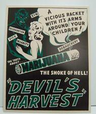 Devil's Harvest Reefer Madness Marijuana SMOKE OF HELL Sign 10X8