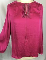 Lane Bryant Womens 18 20 Peasant Tunic Top Pink Beaded Blouse Long Sleeve