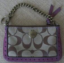 Coach Wristlet Signature C canvas wallet w/ chain & purple suede trim coin purse