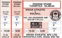 Ticket - Wigan Athletic v Walsall 18.11.1997