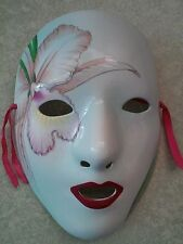 "CERAMIC PORCELAIN MASK WHITE FACE WITH FLORAL AND LEAF ORCHID 7 3/4"" TALL"