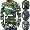 US Fashion Men's Casual Slim Camouflage Printed Long Sleeve T Shirt Top Blouse
