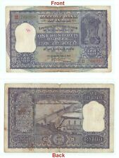 Rare antique Indian 100 Rupees banknote Big Size Hirakud Dam Paper note G5-28 US