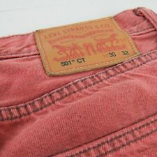 Levis 501 CT Men 30 x 32 Original Fit Tapered Leg. Red Denim Jean