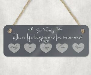 Personalised Wooden Wall Plaque/Sign Family of Hearts New Home/Birthday Gift