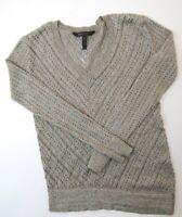 BCBG MAX AZRIA Damen Pullover Gr.XXS silber meliert V-Ausschnitt Strick -RP416