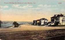 Lake Merritt California birds eye view houses on shore antique pc Y15398
