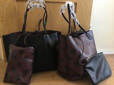 ZARA REVERSIBLE black  POLKA DOT TOTE shopper BAG new with tags