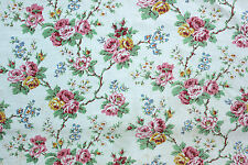 Fabric Vintage French Marignan Villandry blue ground 1940 floral cotton material