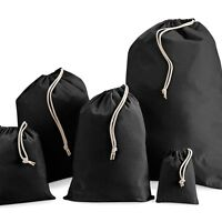 Black 100% calico canvas Cotton, Drawstring, Laundry, favour Gift Sack Bag