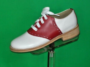 Muffy's RED/white leather sole Swing Saddle Shoes Women's sizes 5-13 (333)