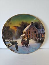1988 Home For The Holidays Christmas Porcelain Plate Trimmed In 22k Gold