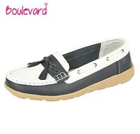LADIES LEATHER Tassle Loafers Slip On Boat Shoes - White & Navy Size 3 4 5 6 7 8