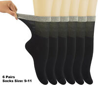 Womens Bamboo Diabetic Crew Socks With Seamless Toe Black,6 Pairs Size 9-11