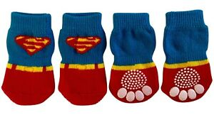 Dog Puppy Anti-slip Socks - For Tiny & Small Breeds - Superman - S, M, L, XL