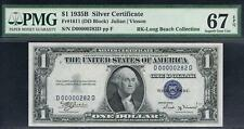 $1 1935B  Silver Certificate.DD Block. PMG 67 EPQ. Top Pop Note. SN: D00000282D