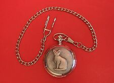 Cat Pocket Watch Pewter Front Albert Chain Boxed Vet Pet Mother Fathers Day Gift
