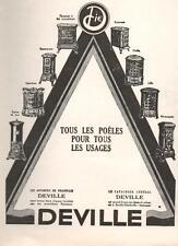 ▬► PUBLICITE ADVERTISING AD Poêle DEVILLE 1926 (b)