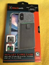 Blackweb Wallet Card Case iPhone X-   Grey  -  New