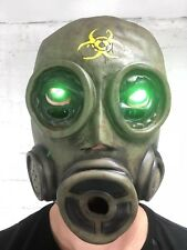 LED Gas Mask Purge Full Head Latex Halloween Outbreak Zombie Costume New Adult