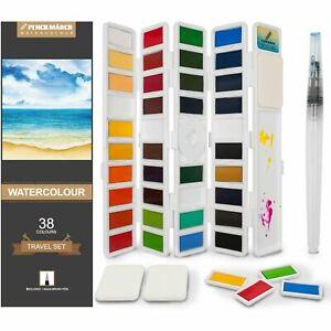 Watercolour Paint Set 38 Colours with 1 Aqua Brush and 3 Sponges PENCILMARCH