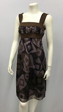 ADOLFO DOMINGUEZ DRESS NWT $565.00 BROWN LILAC GRAPE GEOMETRIC PRINT 36 XS