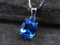 Silberkette mit Anhänger Topas Blau Mit stein Edelstein Halskette Damen 925