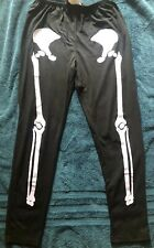 Black Skeleton Leggings Plus Size/Queen, Great Condition, Pre-Owned, Costume