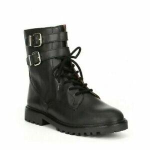 Antonio Melani Bertilli Combat Moto Boots Black Leather Size 7 NEW