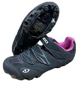 GIRO Riela Womens Size US 6.5 EU 38 Cycling Spin Shoes Black/Pink w/ Clips