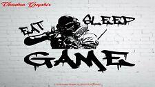 Boys Girls Bedroom Wall Sticker Eat Sleep Game Repeat Gaming Gamer Decal