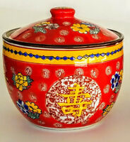 Ceramic Rice Serving Bowl Lidded Chinese Red Longevity Character Shou Floral (a)