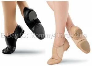 NEW Capezio Balera Slip on Leather Jazz Shoes Caramel Tan Black Child Adult