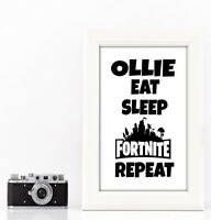 Fortnite inspired personalised a4 print quote Christmas gift battle royale white