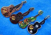 4 FAMOUS ROCKER GUITARS CLAPTON + HOLLY + COCHRAN + PRESLEY Hard Rock Cafe PINS