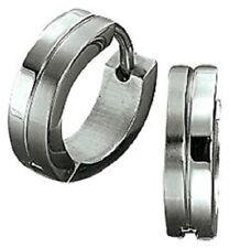 Titan Titanium Klappcreolen Kreolen Ohrringe Silber Damen Herren matt glanz III