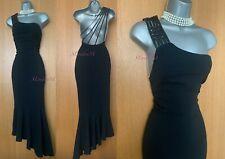 Karen Millen UK 12 Black Jersey Leather Detail One Shoulder Mid Length Dress 40