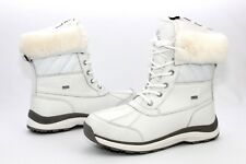 Ugg Adirondack III Quilt Leather Wool White Color Winter Snow Boots Size 9.5 US