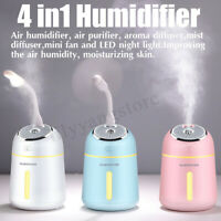 4in1 330ml Humidifier Desktop Air Purifier Diffuser With USB Fan & Night Light