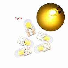 5x Yellow Amber Silicone Shell T10 Wedge COB LED Lamp Bulbs License Plate Light