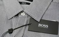 NWT $175 Hugo Boss Gray Shirt LS Mens L Robbie_1 50290457 001 Slim Fit Stretch
