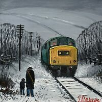 James Downie Original Oil Painting - Watching The Diesel Locomotive Train