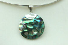 "ROUND Paua ABALONE SHELL & 925 Silver PENDANT Necklace 1.2"" 30mm Diameter"