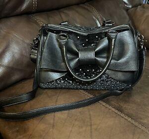 Black Betsey Johnson Handbag Large Black Bow  Rhinestones Faux Velvety Fur