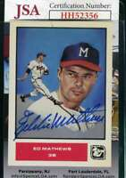 Eddie Mathews 1984 Trade Card JSA Coa Autograph Authentic Hand Signed