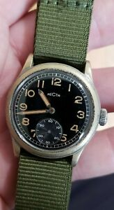 RARE Military Style Recta watch from the  WWII Era.  Runs strong keeps good time