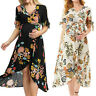 Women's Ladies Maternity Pregnanty Short Sleeve Print Floral Frenulum Long Dress