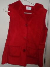 S Ladies Womens Mifresia Vest Faux Suede Fake Fur Hood Hooded Red Button Pockets